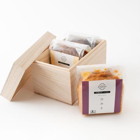 【お中元に!】島根県産MISOJYUの有機生みそ 木箱3つ&玄米甘酒セット