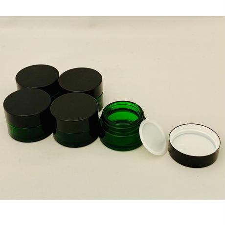 【8月限定】ガラスクリーム容器 20g(グリーン)5個セット