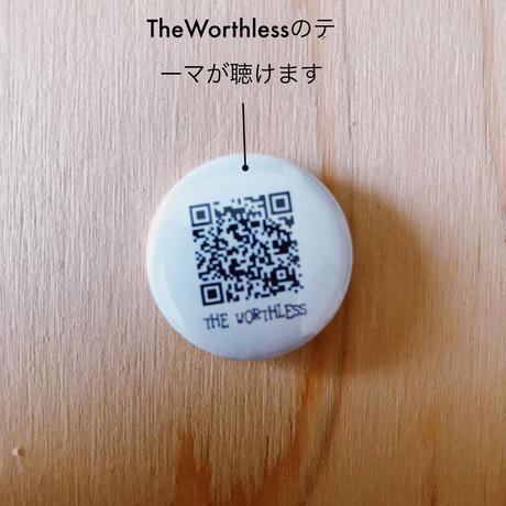 「赤盤」TheWorthlessのヒゲ+TheWorthlessのテーマが聴けるQRコード+缶バッジ