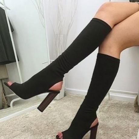 【即納商品】膝下オープントゥブーツ Black(24.5cm) ;再入荷未定モデル