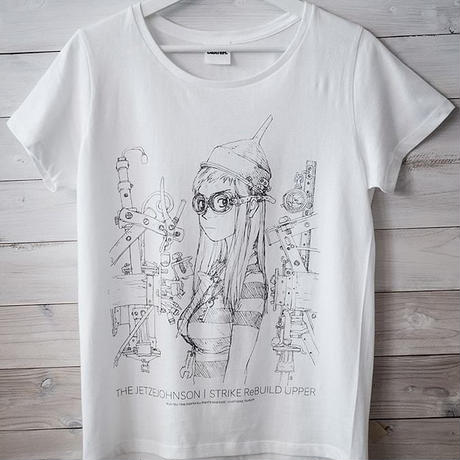 鶴田謙二描き下ろし 「ストライクリビルド・アッパー」Tシャツ(ホワイト)