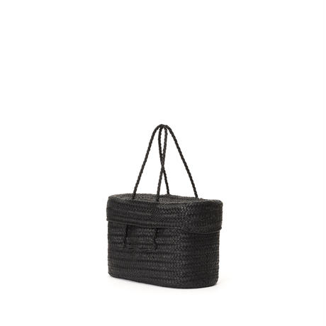KG12 / LEATHER LIDDED BASKET L
