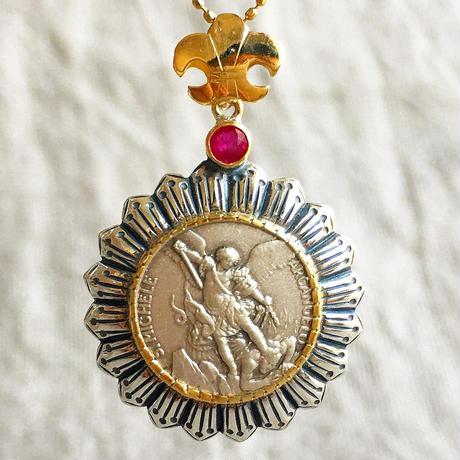 Michaelシルバーメダル&ルビー シルバー&18Kゴールドペンダントトップ  BRIGHT(PMD1005)