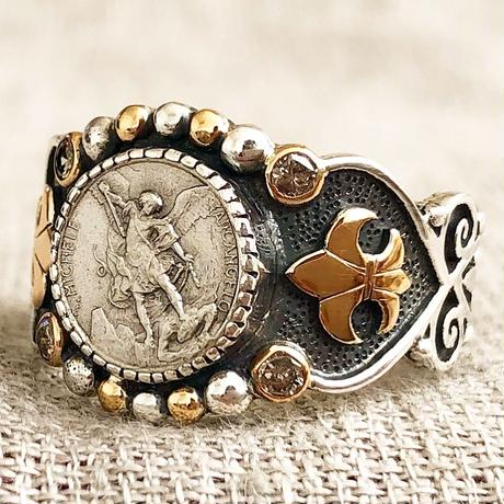 Michaelシルバーメダル&ルビー&ダイヤモンド シルバー&18Kゴールドリング SACRED HEART(RMD1023)