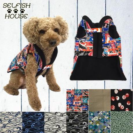 選べる色柄 ちゃんちゃんこ 男の子カラー【S/M/L】 送料無料 犬猫用 はんてん 着物 フリース
