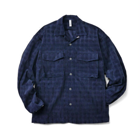 Navy Cord Plaid Shirt Jacket