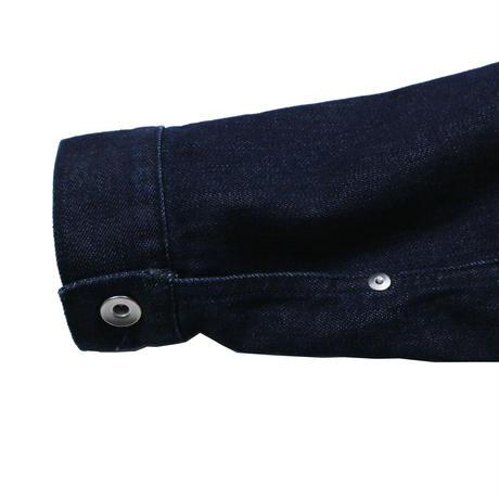 denim jacket_brown leather pocket