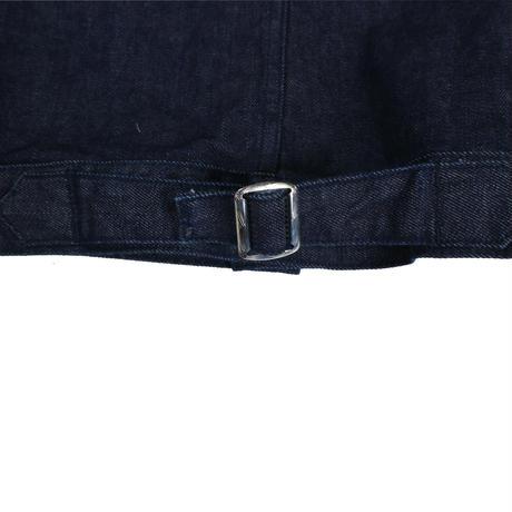 denim jacket_black leather pocket