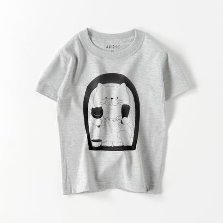 SATSUMA 田の神さぁ白ねこ キッズTシャツ(ホワイト・グレー 100/110/120/130/140/150/160)