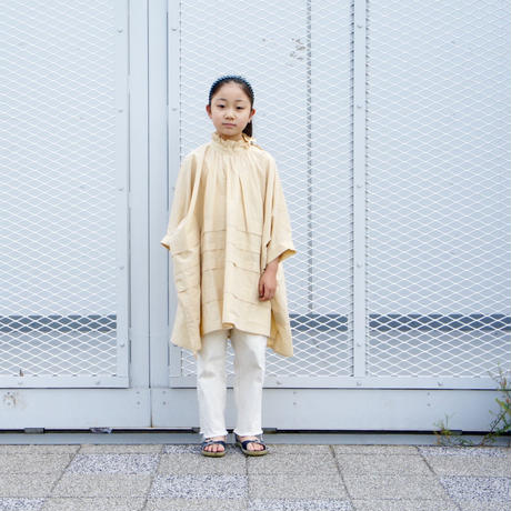 Frill High Neck Tuck Shirt ( beige  / S.M ) / folkmade