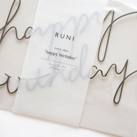 "letter objet ""happy birthday"" / RUNI"