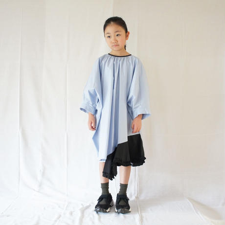 Flare Wide Dress (skyblue x black) / folkmade