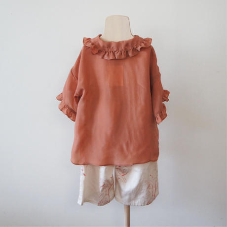 Taffeta Blouse ( brick red  / M,L ) / folkmade
