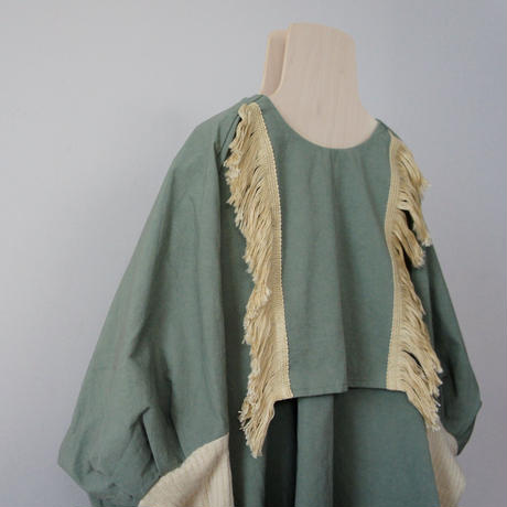 Fringe Dress (moss green) / folkmade