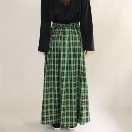 【先行予約】thomas magpie tartan check long skirt green