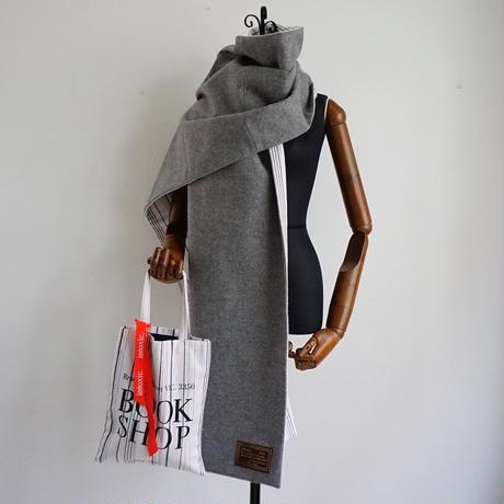 【online store 限定】big stole melton gray white stripes