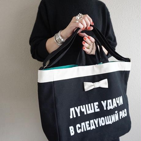【新作】adjust strap tote black logotip