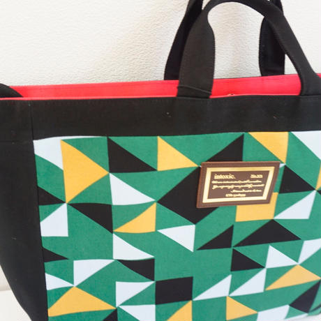 adjust strap tote grossy green