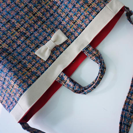 adjust strap tote summer tweed soft pink