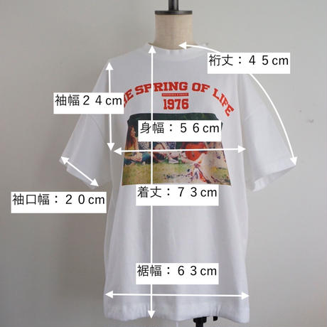 "【予約終了】thomas magpie ""the spring of life"" short T-shirt white"