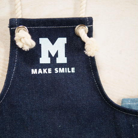 デニムエプロン(ネイビー)MAKE SMILE
