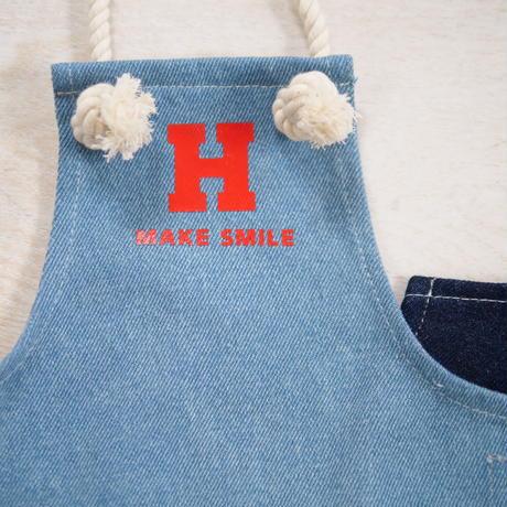 デニムエプロン(ライトブルー)MAKE SMILE