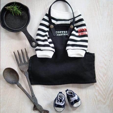 MAKE SMILEボーダーTシャツ(黒)