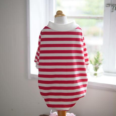 MAKE SMILEボーダーTシャツ(赤)