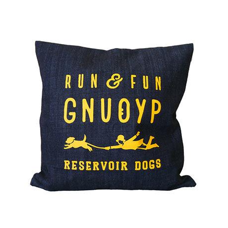 GNUOYP デニムのクッションカバー(45×45cm) + ロゴ入り巾着袋付