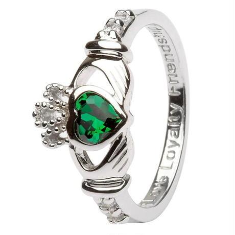 〔 アイルランド直輸入 〕アイルランド 伝統の 指輪 カラーストーン クラダ リング シルバー キュービックジルコニア アイルランド