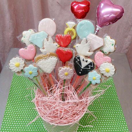 食べられるブーケ☆weddingクッキーブーケ20本☆結婚祝いや記念日のお祝いに!名入れ・メッセージ入れ無料☆彡