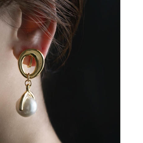 chain pearl earring / silver,gold
