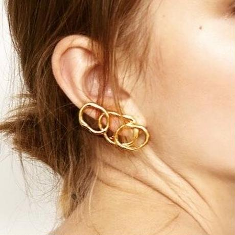vein earring / silver,gold