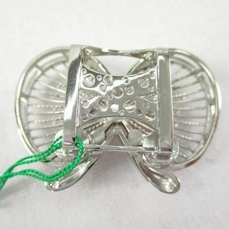 n2860▼シルバー帯留 やまと扱い ローズクオーツ ピンクトルマリン 蝶 リボン マグネットタイプ 箱付 未使用 美品