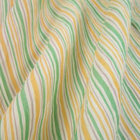 z122 ▼ちぢみ 本麻 オーガニックラミー 支子色 薄緑 縞 杉山織物 逸品 夏物 単衣 新品 本場小千谷縮