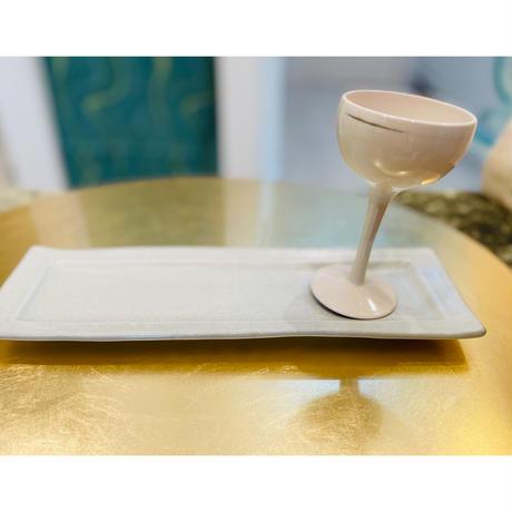 陶器長角皿 ホワイト