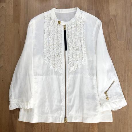 リネン フリル ライダースジャケット