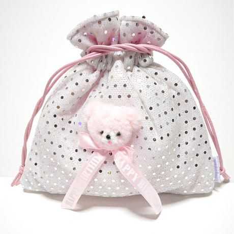 Bear巾着/ シルバー水玉(送料無料)