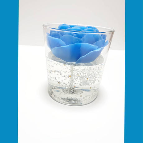 Blue Rose Glass Candle
