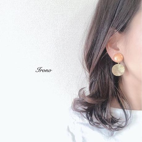 Orange  vintage & SUN brass ピアス / イヤリング