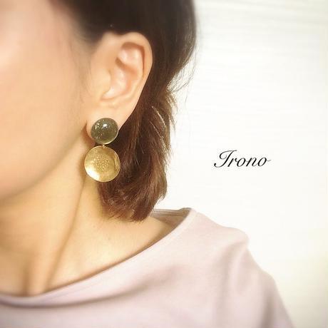 Vintage green × flower brass  / ピアス
