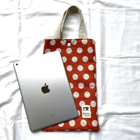 タブレットバッグ(オレンジ × ホワイト水玉)