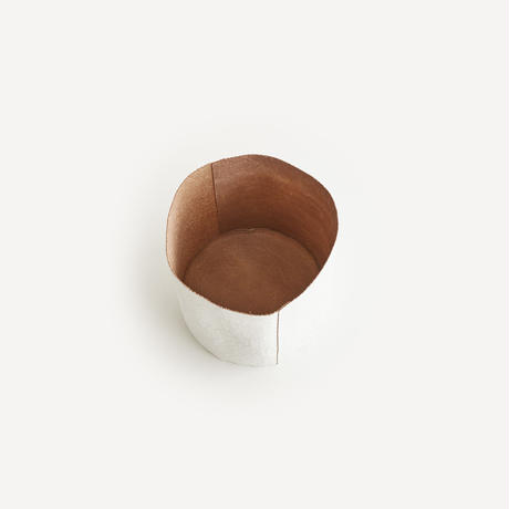 paper leather trash basket(nude / white)