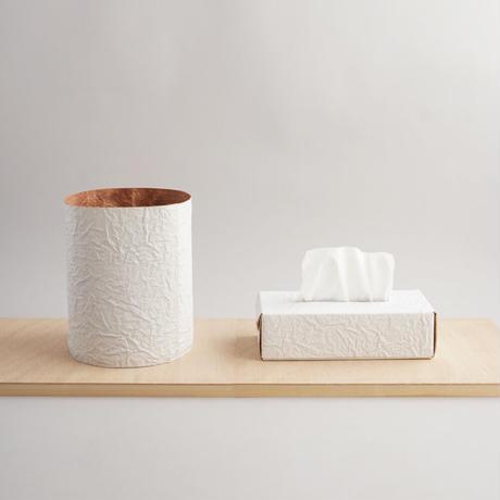 PAPER LEATHER TISSUE BOX CASE  ( WHITE )