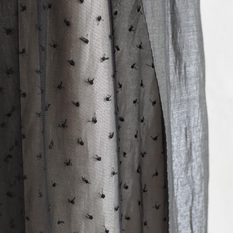 No.1902010 ドットチュール&フィルムスカート ブラックxベージュ Made in Japan