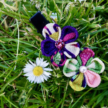 Hand Made Hair Clip (two flowers)
