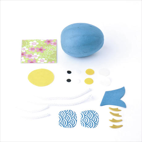 和紙ころころ鯉のぼり 青 手作りキット設計図付 55168