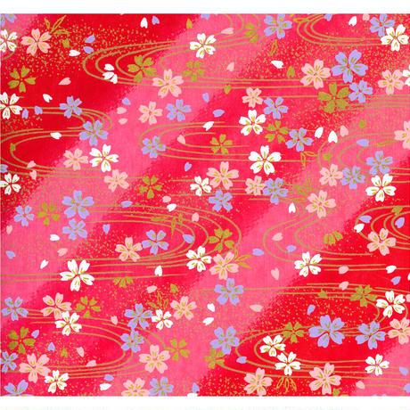 【もみしわ 厚み加工】赤柄1306-9148 美濃和紙友禅染紙(手染め美濃和紙)