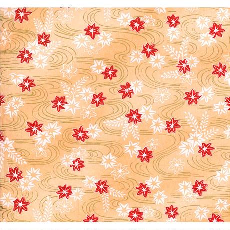 【もみしわ 厚み加工】赤柄1306-7601 美濃和紙友禅染紙(手染め美濃和紙)