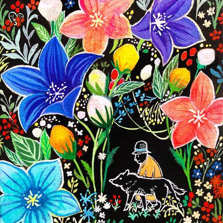 原画 Forest of bellflowers  桔梗の森